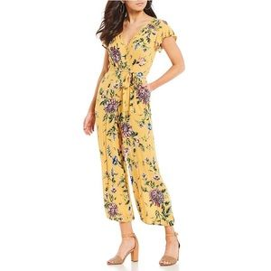 Angie Yellow Floral Surplice Jumpsuit Large NWT